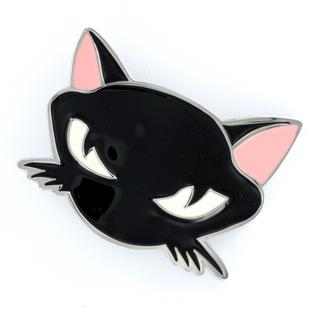 Boucle de ceinture chat noir au regard agressif