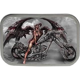 Achat Boucle de ceinture rectangulaire avec ange de la mort sur moto ... 382d0ae6543