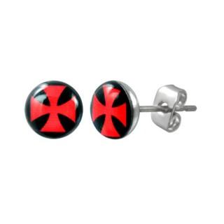 Boucles d'oreilles logo croix de malte rouge sur fond noir