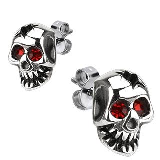 Boucles d'oreilles acier à tête de mort creusée et yeux rouges