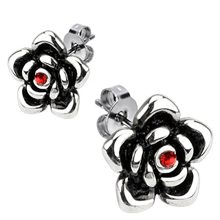 Boucles d'oreilles acier fleurs à pierre rouge au centre