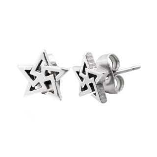 achat boucles d 39 oreilles acier pentagramme pas cher. Black Bedroom Furniture Sets. Home Design Ideas