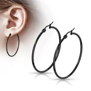 Boucles d'oreilles créoles noires en acier (paire)