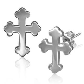 Boucles d'oreilles croix à fleurs de Lys aux extrémités