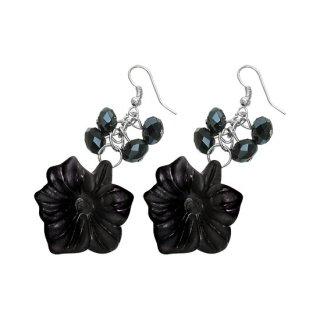 achat boucles d 39 oreilles fleurs noires suspendues pas cher. Black Bedroom Furniture Sets. Home Design Ideas