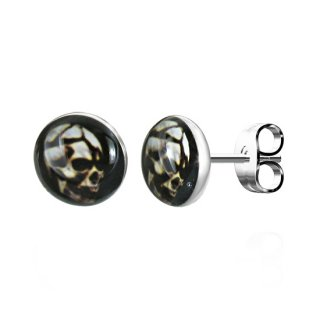 Boucles d'oreilles logo crane de profil