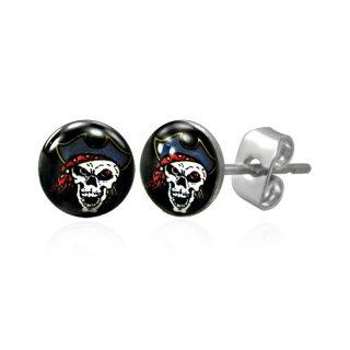 achat boucles d 39 oreilles logo pirate pas cher. Black Bedroom Furniture Sets. Home Design Ideas
