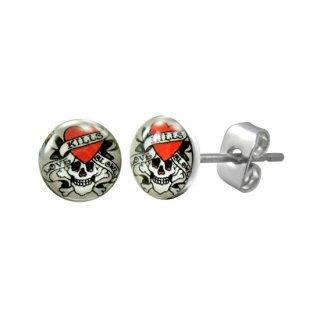 Boucles d'oreilles logo tête pirate avec coeur