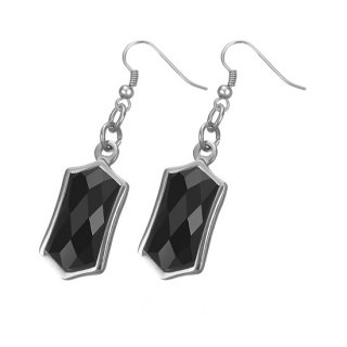 Boucles d'oreilles pierres hexagonales noires