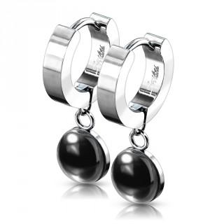 Boucles d'oreille acier à pendentif Agate noire