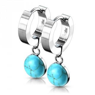 Boucles d'oreille acier à pendentif Turquoise