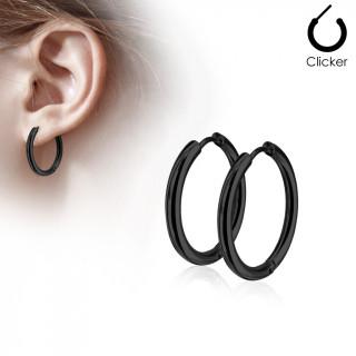 Boucles d'oreille créoles en acier plaqué IP - Noir