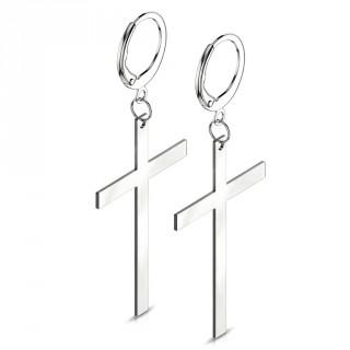 Boucles d'oreille en acier à longue croix suspendue