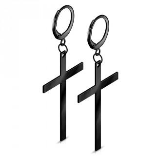Boucles d'oreille en acier noir à longue croix suspendue
