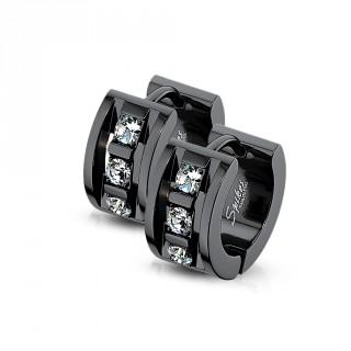 Boucles d'oreille noires serties style architectural en acier (paire)
