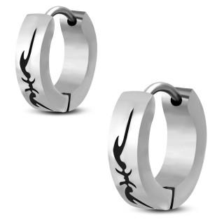 Boucles d'oreilles acier à symbole tribal (Paire)