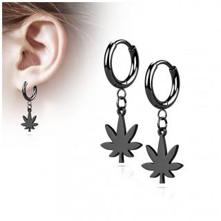 Boucles d'oreilles créoles feuille cannabis en acier Noir (paire)