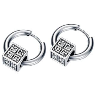 Boucles d'oreilles homme acier à cube mystérieux (paire)