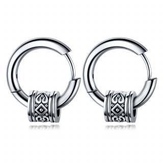Boucles d'oreilles homme acier à cylindre tribal (paire)