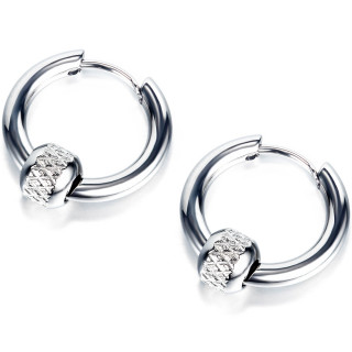 Boucles d'oreilles homme acier à perle hachurée (paire)