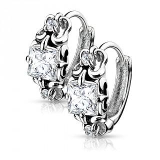Boucles d'oreilles serties en acier à design ancien