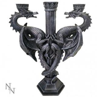 """Bougeoir d'autel """" double dragon """" - 29cm"""