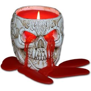 Bougeoir crane vampire sculpté + bougie rouge (senteur lavande)