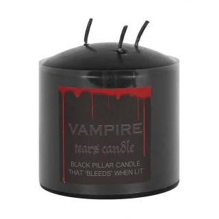 Bougie large noire à larmes de vampire à 3 mèches