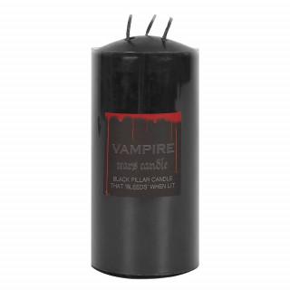 Bougie large noire à larmes de vampire triple mèche (15cm x 7cm)