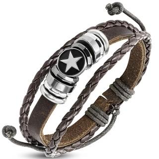Bracelet à bande et tresses de cuir avec étoile cerclée