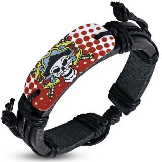 Bracelet corde et cuir avec plaque à crane chef pirate