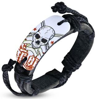 Bracelet corde et cuir avec plaque à crane et banderole