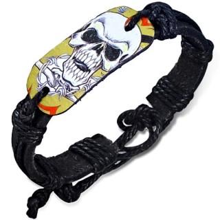 Bracelet corde et cuir avec plaque à crane fantomatique