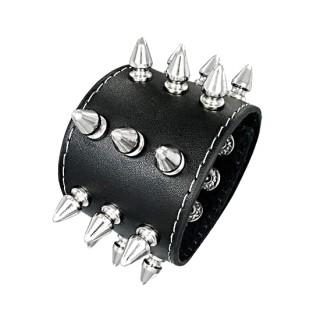 Bracelet cuir à cônes métal et coutures blanches