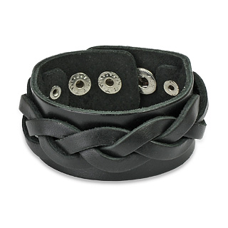 Bracelet cuir ajustable avec lanières tressées