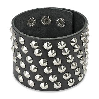 Bracelet cuir ajustable avec 6 rangées de cones métal