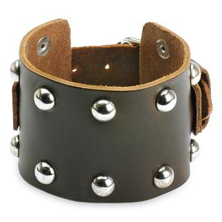 Bracelet cuir brun ajustable domes métal
