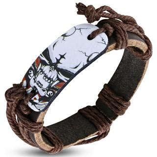 Bracelet cuir et corde avec plaque à crane craquelé