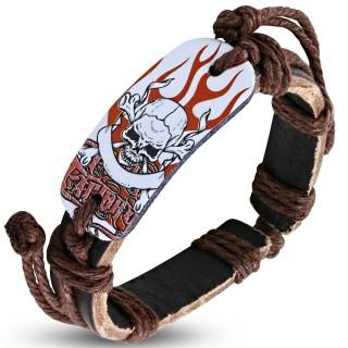 Bracelet cuir et corde avec plaque à crane et os sur flammes