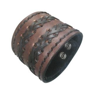 Bracelet cuir large marron à lanières croisées