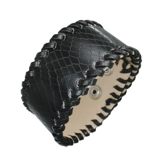 Bracelet cuir noir imitation peau de serpent