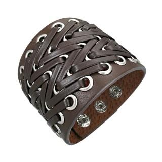 Bracelet cuir perforé à lanières en zigzag