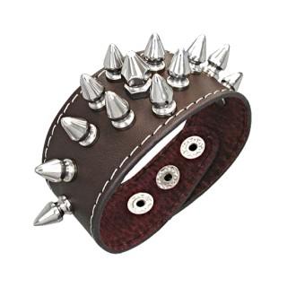 Bracelet cuir pointes coniques positionnées en lozange