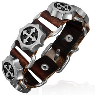 Bracelet cuir steampunk à engrenages tournants