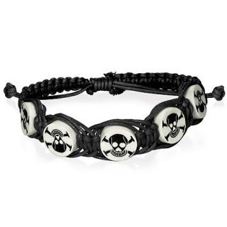 Bracelet en corde avec perles à têtes de mort