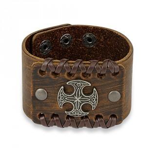 Bracelet en cuir marron aspect usé traversé de lacets avec croix celtique ronde