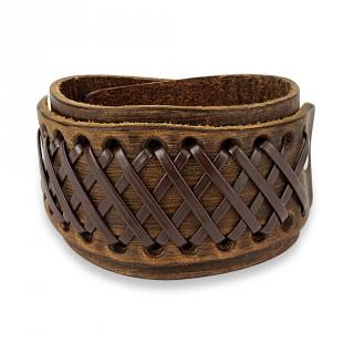 Bracelet en cuir marron aspect usé traversé de multiples lacets en croisillons