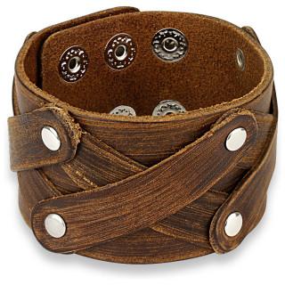 Bracelet en cuir marron usé à lanières disposées en X