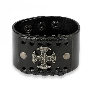 Bracelet en cuir noir traversé de lacets avec croix celtique ronde
