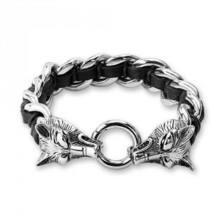 Bracelet homme à maillons de cuir et d'acier avec têtes de loups